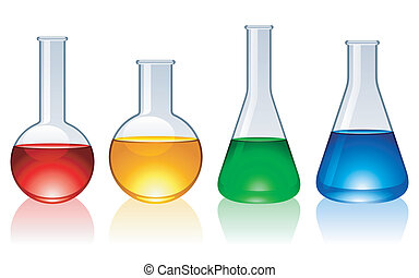 Set of 4 glass flasks with color liquid inside.