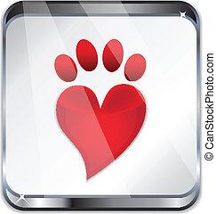 Glass icon Love paw print