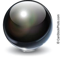 Black, glass sphere, vector illustration.