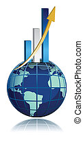 global business growth bar graph illustration design isolated over white