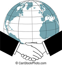 East meets west as business or political leaders seal a global deal with an international handshake.