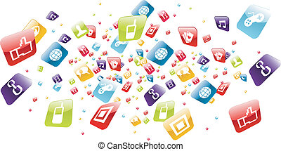 Iphone application icons explotion on white background. Vector file layered for easy manipulation and customisation.
