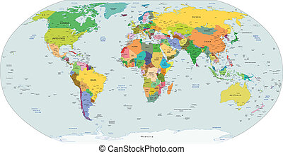 Global political map of the world,