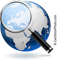 Global search concept isolated on white background. EPS10 file.
