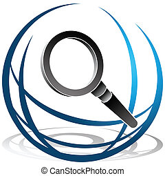 An image of a globe and magnifying glass search icon.