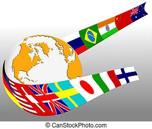 Globe and flag