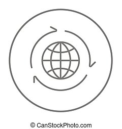 Globe with arrows line icon.
