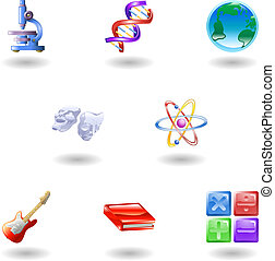 a subject or category icon set eg. science, maths, literature, geography, music, physics etc