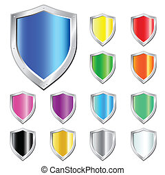 Glossy Shield vector Icons.