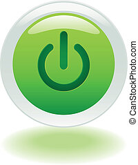 Glowing power on or off button in vector format