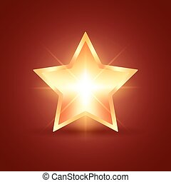 Golden glowing star on dark red background