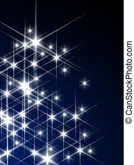 3d rendered illustration of twinkling stars on a blue background