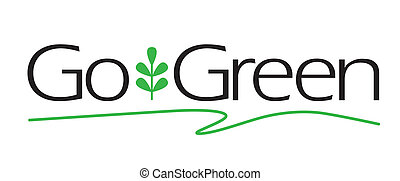Go Green vector type with plant icon.
