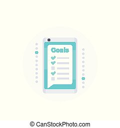 Goal setting app in smartphone, vector icon