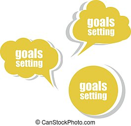 goals settings. Set of stickers, labels, tags. Template for infographics