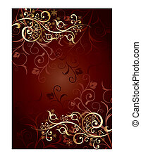 Gold background with curls, vector illustration