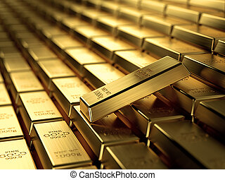 3d render of gold ingots in a row, wealth concept.
