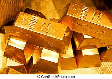 Close up shot of pure gold bars