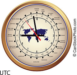 Gold clock with time zones, illustration