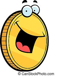 A cartoon gold coin smiling and happy.