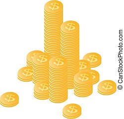 Gold coins stacked by a mountain and separately