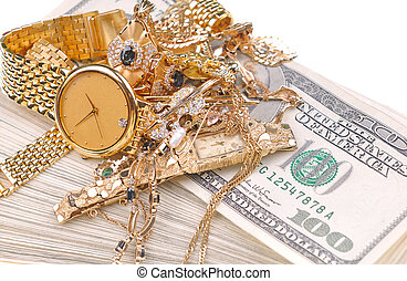 conceptual image of the old jewelry on the currency