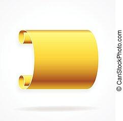 gold golden scroll banner element vector