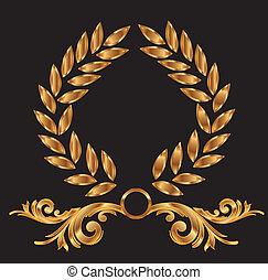 Gold laurel wreath decoration vector