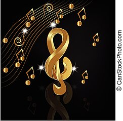 Musical gold notes background vector design