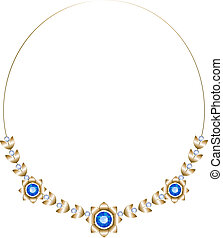 Gold necklace consisting of three flowers and leaves with sapphires with diamonds