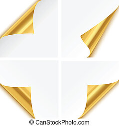 Set of four gold paper corner folds isolated on white background.