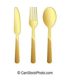 Gold restaurant symbol. Vector illustration