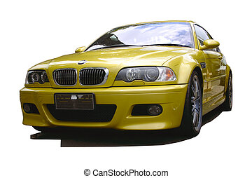 gold sports car with clipping path