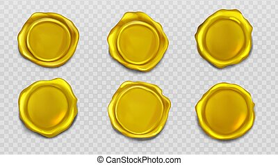 Gold wax seal stamp approval sealing icons set