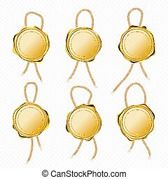 Gold wax seals with rope for letter or certificate