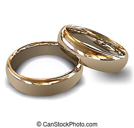 Female and male gold wedding rings, vector illustration