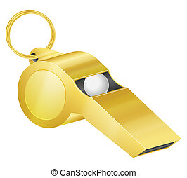 Gold whistle on a white background. Vector illustration.