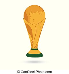 gold World Cup trophy isolated on white background