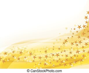 golden background with flying stars. vector