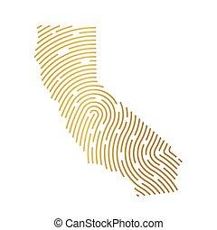 golden California map filled with fingerprint pattern- vector illustration
