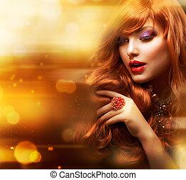 Golden Fashion Girl Portrait. Wavy Red Hair