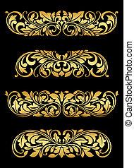 Golden floral elements and embellishments