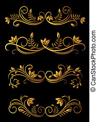 Golden floral elements