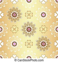 Golden floral seamless pattern (vector)