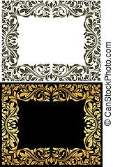 Golden frame with decorative floral elements