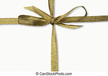 golden isolated ribbon with clipping path