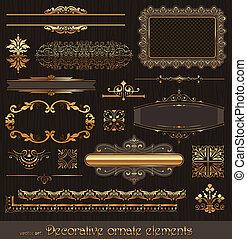 Golden ornate page decor elements