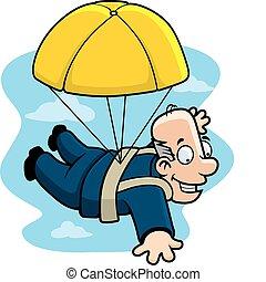 A cartoon businessman with a golden parachute.
