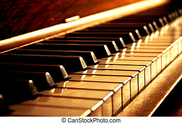 Golden keys of a piano