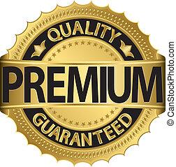 Golden premium label, vector illustration